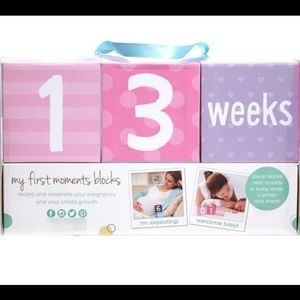 Pearhead baby girl pink pict prop countdown blocks